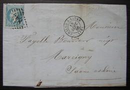 Chalon Sur Saône 1866 David Crozet, Fabrique Générale D'allumettes Rondes Et Carrées Pour Marcigny - Marcophilie (Lettres)