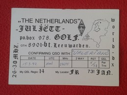POSTAL POST CARD QSL RADIOAFICIONADOS RADIO AMATEUR THE NETHERLANDS PAISES BAJOS PAYS BAS VERON MAPA MAP HOLANDA HOLLAND - Tarjetas QSL
