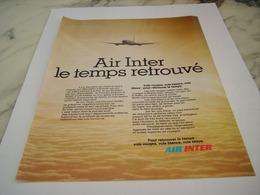 ANCIENNE PUBLICITE LE TEMPS RETROUVE LIGNE AERIENNE AIR INTER 1977 - Advertisements