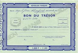 BON DU TRESOR 1.000 F - 2 ANS SPECIMEN SANS VALEUR - TàD CENTRE D'INSTRUCTION - PARIS - 11-2-1966 - Postdokumente
