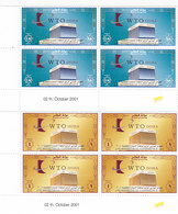 QATAR 2001- WTO 2v. Corner's Bloc' Of 4, Compl..set- MNH_ Reduced Price - - Qatar