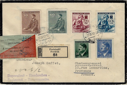1942- Reg. Cover From FREISTADT ( Frystak ) Morovia - .nice Franking + French Douanr étiquette - Lettres & Documents