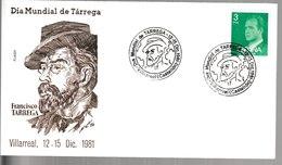N 300) Spanien 1981 SSt Villareal: Tarrega, Gitarrist Und Komponist - Musique