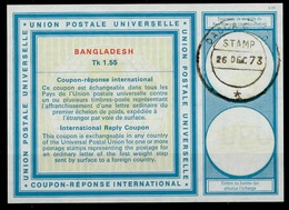 BANGLADESH Vi21Tk 1.55 First International Reply Coupon Reponse IRC IAS Antwortschein O DACCA 26.12.73 - Bangladesch