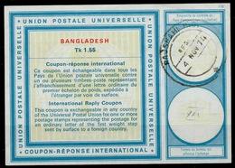 BANGLADESH Vi21Tk 1.55 First International Reply Coupon Reponse IRC IAS Antwortschein O RAJSHAHI 4.11.74 - Bangladesch