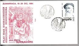 N 302) Spanien 1981 Mi 2531 FDC Zumarraga: 100. Todestag José Maria Iparraguirre, Gitarrist Gitarre - Musik