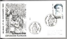 N 305) Spanien 1981 Mi# 2531 SSt Bilbao José Maria Iparraguirre, Baskischer Komponist, Gitarrist Gitarre (adressiert) - Musik