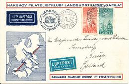 Denmark Cover First Airmail Flight Nakskov - Copenhagen 26-8-1935 With Airmail Stamps - Denmark