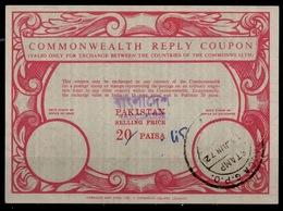 BANGLADESH Co14 45 / 20 PAISA Commonwealth Reply Coupon Reponse Pakistan Overprinted In Bengali / English O DACCA 13.6 - Bangladesch