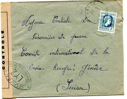 ARIEGE De LERAN Env. Pour GENEVE Du  1/03/1945 Contrôle Censure LYZ  Marianne D'Alger N°643 - Marcophilie (Lettres)
