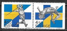 Suède 1994 N°1827/1828 Neufs Paire Sports Finlande/Suède - Suecia