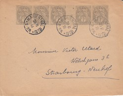Env Affr Y&T 107 X 5 Obl MARIENTHAL (ELS) Du 26.11.18 Adressée à Strasbourg - Storia Postale