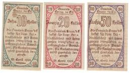 Austria Notgeld Lot / Set - BRUNN X 3 - Oesterreich