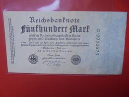 Reichsbanknote 500 MARK 1922 CIRCULER (B.1) - [ 3] 1918-1933 : Repubblica  Di Weimar