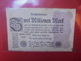 Reichsbanknote 2 MILLIONEN MARK 1923 CIRCULER (B.1) - [ 3] 1918-1933 : Repubblica  Di Weimar