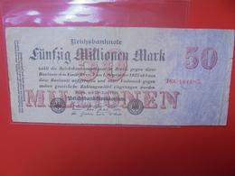 Reichsbanknote 50 MILLIONEN MARK 1923 CIRCULER (B.1) - [ 3] 1918-1933 : Repubblica  Di Weimar