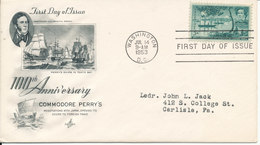 USA FDC 14-7-1953 100th Anniversary Commodore Matthew C. Perry With Art Craft Cachet - 1951-1960
