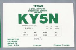 US.- QSL KAART. CARD. KY5N. MIKE KITTLES, GARLAND, TX. TEXAS, ROCKWALL COUNTY., U.S.A. - Radio-amateur