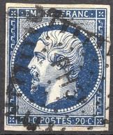 "NAPOLEON ND N° 14Ab BLEU NOIR OB.AMBULANT "" PH3° ""  COTE 80 € B - 1853-1860 Napoleon III"