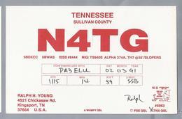 US.- QSL KAART. CARD. N4TG. RALPH H. YOUNG, KINGSPORT, TN. TENNESSEE, SULLIVAN COUNTY., U.S.A. - Radio-amateur