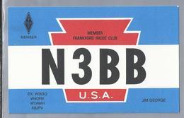 US.- QSL KAART. CARD. N3BB. JIM GEORGE, AUSTIN, TEXAS. MEMBER FRANKFORD RADIO CLUB,  HAYS COUNTY., U.S.A. - Radio-amateur