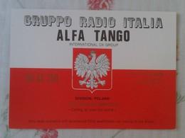 POSTAL POST CARD QSL RADIOAFICIONADOS RADIO AMATEUR GRUPPO ALFA TANGO ITALIA POLAND POLONIA EAST POLSKA FLAG BANDERA.... - Tarjetas QSL
