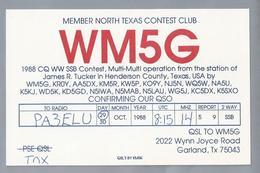 US.- QSL KAART. CARD. WM5G. JAMES R. TUCKER, TEXAS, HENDERSON COUNTY., MEMBER NORTH TEXAS CONTEST CLUB.U.S.A. - Radio-amateur