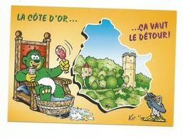 21-Carte Contour Géographique Du Département De  COTE D'OR - Carte Geografiche