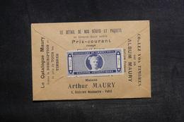 FRANCE - Vignette D'Arthur Maury ( 1er Négociant En France En Philatélie) Sur Pochette De Vente De Timbres - L 38514 - Erinnophilie