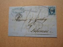 """VEND TIMBRE DE FRANCE N° 22 SUR PLI , GC """" 1096 """" !!! - 1862 Napoléon III"""