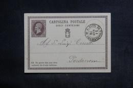 ITALIE - Entier Postal De S. Vito Pour Pordenone En 1876 - L 38524 - Entero Postal