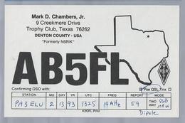 US.- QSL KAART. CARD. AB5FL. MARK D. CHAMBERS, Jr., TROPHY CLUB, TEXAS, DENTON COUNTY. U.S.A. - Radio-amateur