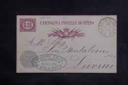 ITALIE - Entier Postal De Prato Pour Livorno En 1878 - L 38528 - 1861-78 Vittorio Emanuele II