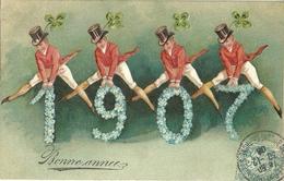 Bonne Annee 1907 Saute Mouton Trefle Fleurs - Año Nuevo
