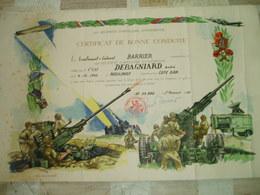 CERTIFICAT DE BONNE CONDUITE-423e REGIMENT D ARTILLERIE ANTI AERIENNE-1955 - Collections