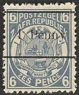 Transvaal 1893. 1d On 6d Blue (12½mm). SACC 202*, SG 197*. - Transvaal (1870-1909)