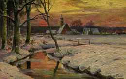 Illustrateur Signé Paysage Hivernal Coicher De Soleil Ruisseau Village  RV - Peintures & Tableaux