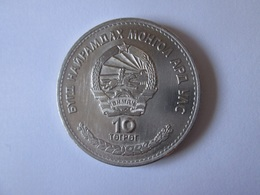 Rare! Mongolia 10 Togrog/Tugrik 1974 Coin-50th Anniversary Of State Bank,in Very Good Conditions - Mongolie