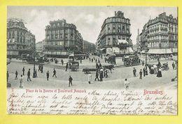 * Brussel - Bruxelles - Brussels * (Ed. V. G.) Place De La Bourse Et Boulevard Anspach, Tram à Cheval, TOP, Unique - Brussel (Stad)