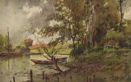 """Illustrateur """"Letendre"""" Bord De Rivière Barques RV - Peintures & Tableaux"""