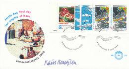 DC-1993 FDC NEDERLAND 1990 - E 272 ZOMERZEGELS PZB 40-  MET HANDTEKENING ONTWERPER KAREL KRUYSEN - OPEN KLEP RR - FDC