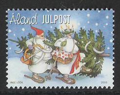 Aland 2010 Christmas, Two Aunts Carry Christmas Tree Home; Drawing By Inge Löök (* 1951) Mi  336  MNH(**) - Aland