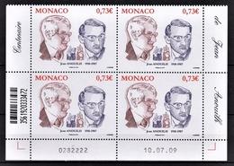 MONACO 2009  - BLOC DE 4 TP / Y.T. 2713 - NEUFS ** COIN DE FEUILLE / DATE - Unused Stamps