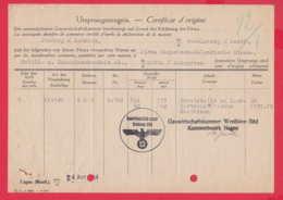 247296 / Document Deutsches Reich - Ursprungszeugnis -  Gauwirtschaftskammer Westfalen-Süd Kammerbezirks HAGEN GERMANY - Allemagne
