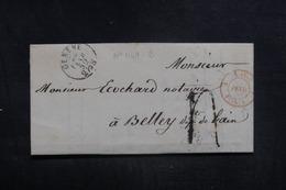 """FRANCE - Cachet D'entrée """" SUISSE / FERNEX """" Sur Lettre De Genève Pour Belley En 1852 - L 38587 - Storia Postale"""