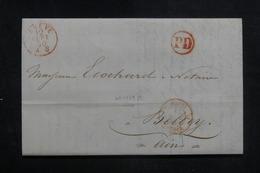 """FRANCE - Cachet D'entrée """" SUISSE / FERNEX """" Sur Lettre De Genève Pour Belley En 1850 - L 38589 - Marcophilie (Lettres)"""