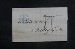 """FRANCE - Cachet D'entrée """" SUISSE / FERNEX """" Sur Lettre De Carouge Pour Belley En 1854 - L 38590 - Marques D'entrées"""