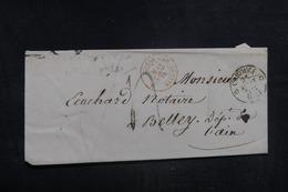 """FRANCE - Cachet D'entrée """" SUISSE AMB. GENEVE B """" Sur Enveloppe De Carouge Pour Belley En 1858 - L 38593 - Poststempel (Briefe)"""
