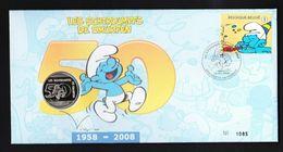 Numisletter  België 2008 Smurfen Numisbrief / Schtroumps + Coin / Med - Numisletters