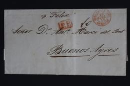 France Lettre Paris -> Buenos Ayres  Buenos Aires Cachet Bureau Maritime Le Havre 10-2-1853 PP Rouge - Marcophilie (Lettres)